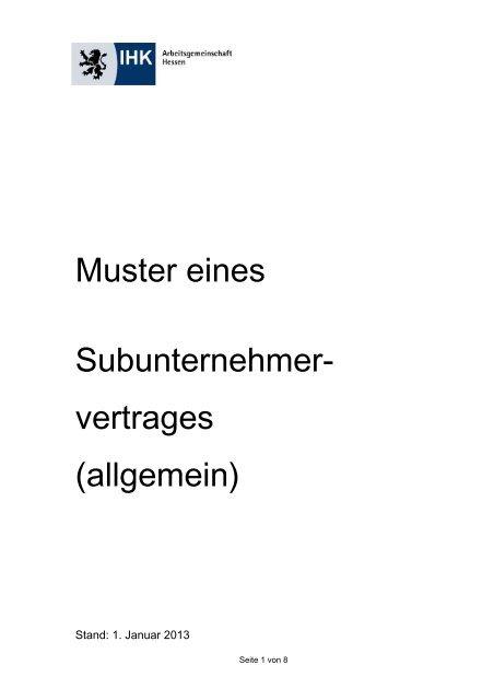 Muster Eines Subunternehmer Vertrages Allgemein Ihk Kassel