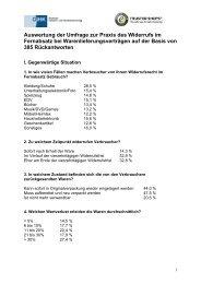 Auswertung der Umfrage zur Praxis des Widerrufs im Fernabsatz bei ...