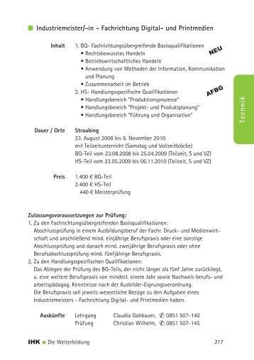Technik Industriemeister/-in - Fachrichtung ... - IHK Niederbayern