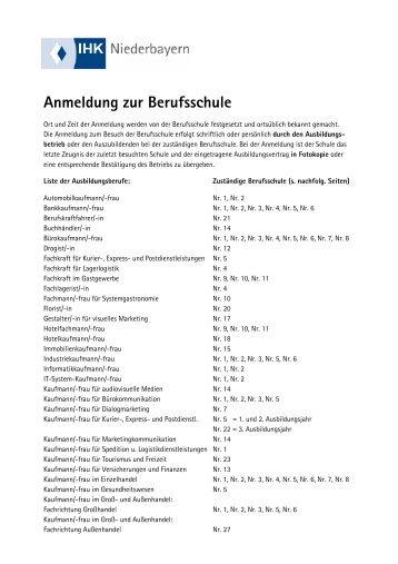 Anmeldung zur Berufsschule - IHK Niederbayern