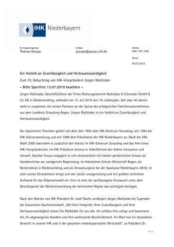 70. Geburtstag Jürgen Wallstabe - IHK Niederbayern