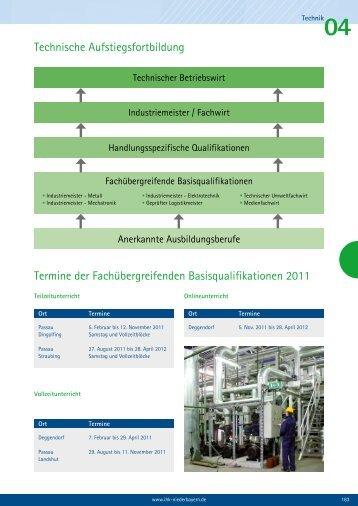 Technische Aufstiegsfortbildung Termine der ... - IHK Niederbayern