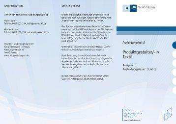 Produktgestalter/-in Textil - IHK Niederbayern