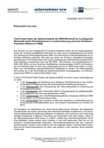 Düsseldorf, den 27.04.2012 Fünf-Punkte-Papier der ... - IHKs in NRW