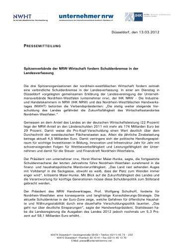 Düsseldorf, den 13.03.2012 Spitzenverbände der ... - IHKs in NRW