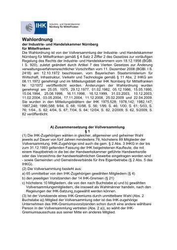 Wahlordnung der Industrie - IHK Nürnberg für Mittelfranken