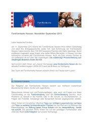 Familienkarte Hessen: Newsletter September 2013