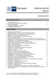 Newsletter Außenwirtschaft - Ausgabe Dezember ... - IHK Wiesbaden