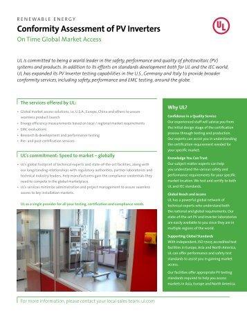 Conformity Assessment of PV Inverters - UL.com