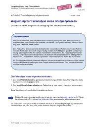 Wegleitung zur Fallanalyse eines Gruppenprozess - NLP Akademie ...