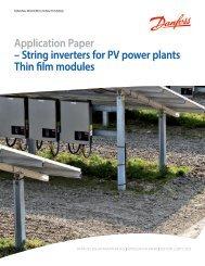 String inverters for PV power plants Thin film modules - Danfoss