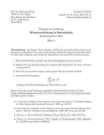Blatt 6 - TU Dortmund