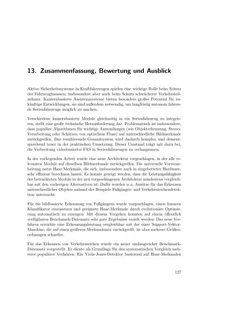 13. Zusammenfassung, Bewertung und Ausblick - Ruhr-Universität ...