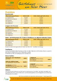 Preisliste mit Plan des Hauses - Ihlow Tourismus