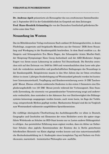 Dr. Andreas H. Apelt und Prof. Hans-Hendrik ... - Gedenkbibliothek