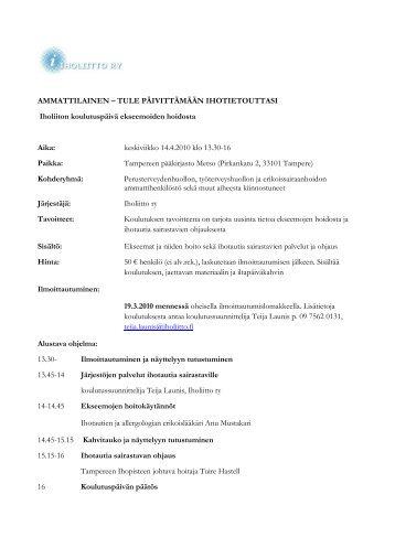 AMMATTILAINEN – TULE PÄIVITTÄMÄÄN ... - Iholiitto ry