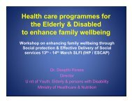 Health care programmes for the Elderly & Disabled to enhance ...