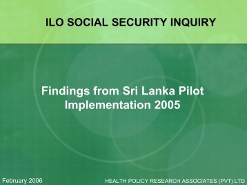 Findings from Sri Lanka Pilot Implementation 2005 - Institute for ...