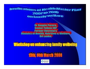 Implications of Health Master Plan 2007 to 2016 on Family Welfare ...