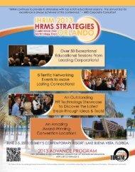 2013 ADVANCE PROGRAM - IHRIM