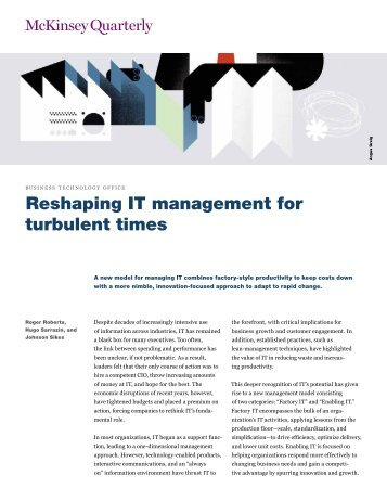 Reshaping IT management for turbulent times - Agricultural ...