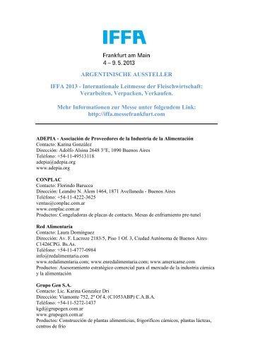 ARGENTINISCHE AUSSTELLER IFFA 2013 - Internationale ...