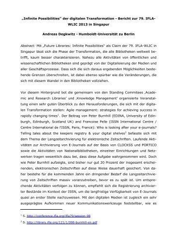 Herr Dr. Andreas Degkwitz, Humboldt-Universität zu Berlin