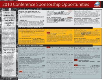 2010 Conference Sponsorship Opportunities - IHRIM