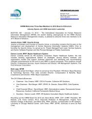 IHRIM Welcomes Three New Members to 2012 Board of Directors
