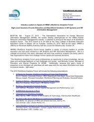 Industry Leaders to Speak at IHRIM's Workforce Analytics Forum