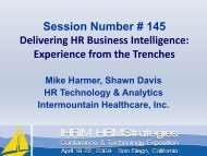 Experience from the Trenches - IHRIM
