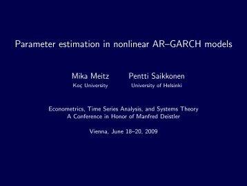 Parameter estimation in nonlinear AR–GARCH models