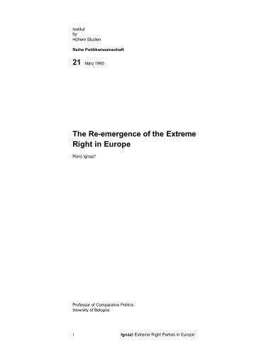The Re-emergence of the Extreme Right in Europe - Institute for ...