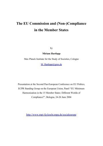 The EU Commission and (Non-)Compliance in the Member States