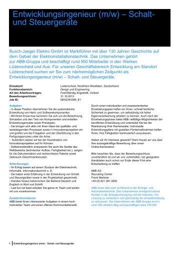 Entwicklungsingenieur (m/w) – Schalt- und Steuergeräte