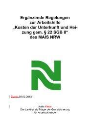"""Ergänzende Regelungen zur Arbeitshilfe """"Kosten der Unterkunft und ..."""