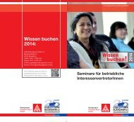 Seminarangebote für betriebliche InteressentenvertreterInnen 2014