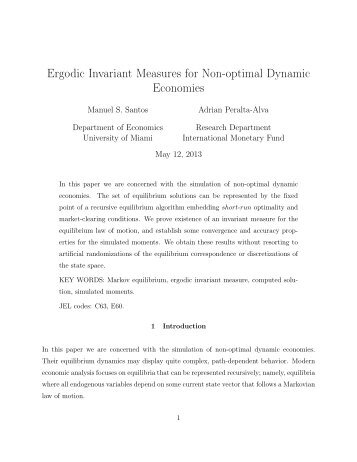 Ergodic Invariant Measures for Non-optimal Dynamic Economies