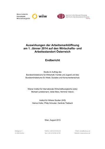 Endbericht:Auswirkungen der Arbeitsmarktöffnung - Institute for ...