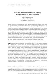HIV/AIDS Protective Factors Among Urban American Indian Youths