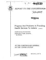 Progress and Problem in Providing Health Services to Indians