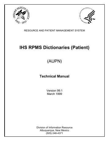 IHS RPMS Dictionaries (Patient) (AUPN) - Indian Health Service