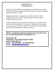 Indian Health Service HIPAA Readiness Survey, Third Party Payers