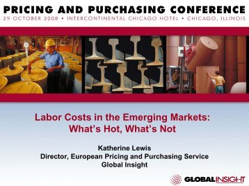 Labor Costs in the Emerging Markets - Country & Industry ...