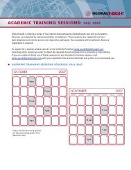 academic training sessions: fall 2007 - IHS Global Insight