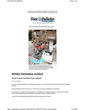 Nimitz homeless ousted