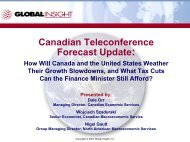 Canadian Teleconference Forecast Update: - IHS Global Insight