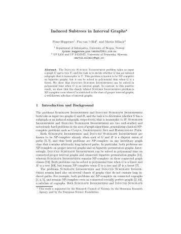 Induced Subtrees in Interval Graphs⋆