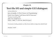 Chapter 10 Text file I/O and simple GUI dialogues