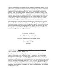 Early 20th-century Jewish Influences on Prague/Eastern Europe